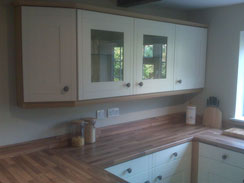 Another image displaying the shaker kitchen, displaying the beech style worktops